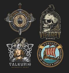 Viking colorful vintage designs vector