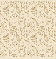Vintage dessert pattern - sketch ice cream and vector