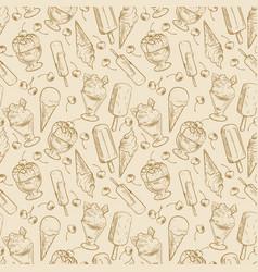 vintage dessert pattern - sketch ice cream vector image