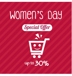 Womens day special offer up to 30 template design vector