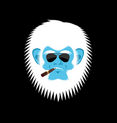 yeti serious emoji abominable snowman with cigar vector image