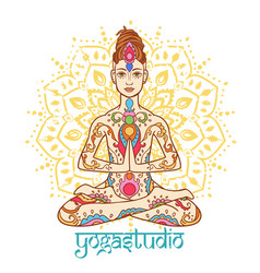 yoga man with dreadlock ornament beautiful doodle vector image