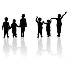 children holding hands black silhouette vector image