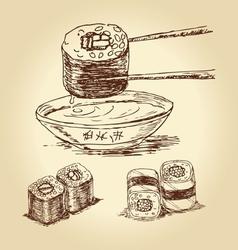 hand drawn sushi vector image