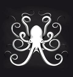 octopus sketch design on blackboard vector image vector image