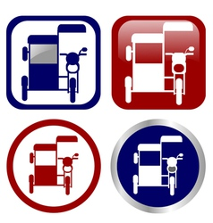 Philippine tricycle sign icon set vector image vector image