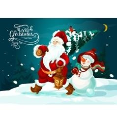 Santa and snowman with xmas tree and gifts card vector image