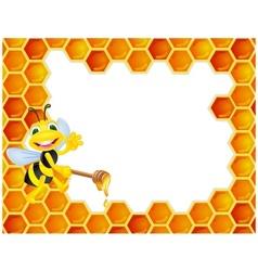 bee cartoon with honeycomb vector image vector image