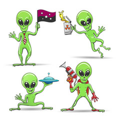 cartoon aliens set vector image vector image