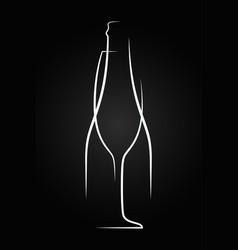 champagne glass logo champagne bottle on black vector image vector image
