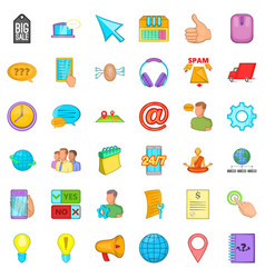 Consultation on phone icons set cartoon style vector