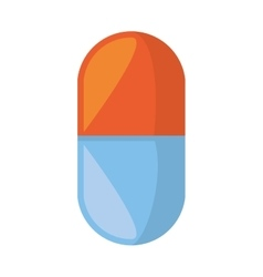 medical pill capsule drugs blue and red with vector image