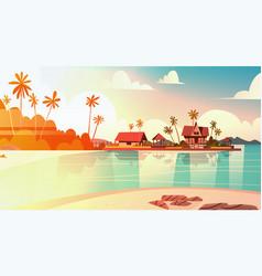 Sea shore beach with villa hotel beautiful sunset vector