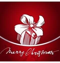 Christmas gift red background hand drawn vector image