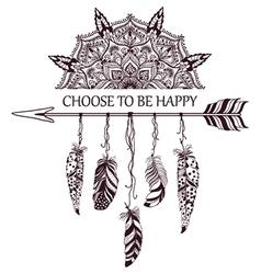 Hand drawn boho style design with mandala arrow vector