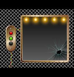 industrial background metal frame brass vector image vector image