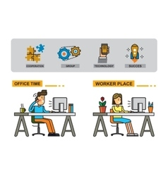 man and woman in office vector image