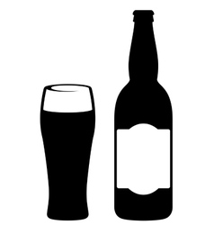 black beer bottle with glass vector image