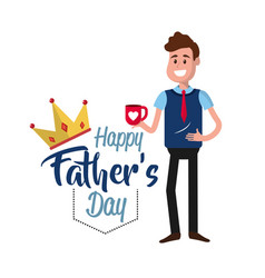 father day card with decoration design vector image vector image