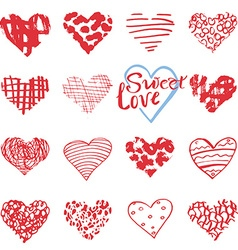Hand drawn hearts symbols and lettering for vector image