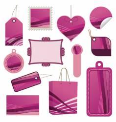 pink tag set vector image vector image