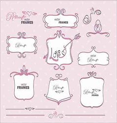 Set of frames in romantic style vector image