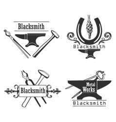 Set of vintage monochrome blacksmith labels and vector image