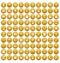 100 birthday icons set gold vector