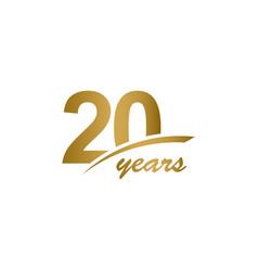 20 years anniversary elegant gold line vector