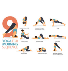 9 yoga poses for morning sequence concept vector