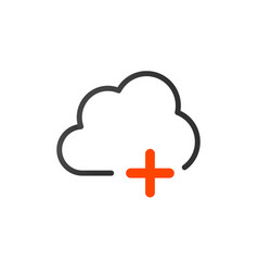 add data cloud icon plus sign isolated on white vector image