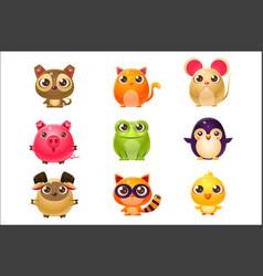 adorable baanimals in girly design vector image