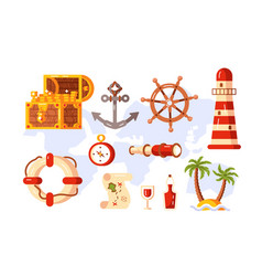 adventure symbols set vector image