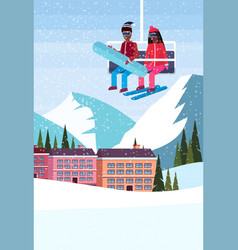 african american couple skiers on chairlift ski vector image