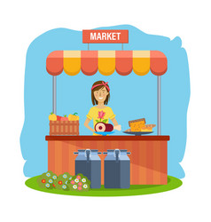 agriculture farming shopping cashier sells vector image