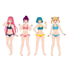 Anime manga girls in bikini group kawaii vector