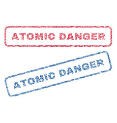 atomic danger textile stamps vector image