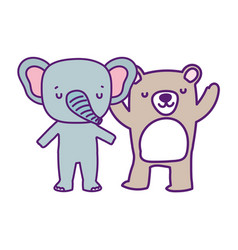 bashower cute elephant and bear cartoon vector image