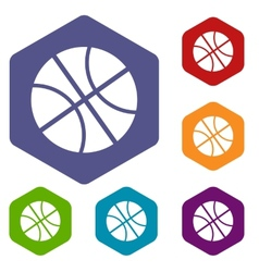 Basketball rhombus icons vector image
