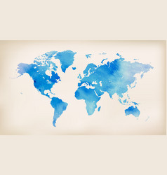 blue world map on vintage paper background vector image