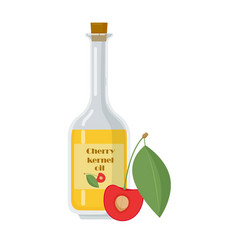 Bottle with cherry kernel oil on white background vector