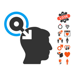 Brain interface plug-in icon with dating bonus vector