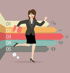Business woman running with arrows infographic vector