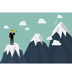 Businessman looking for mountain peak vector