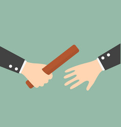 businessmans hand passing a relay baton vector image