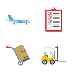 Cargo plane cart for transportation boxes vector