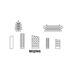 China beijing city line travel skyline set china vector