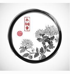 Chrysanthemum flowers in oriental style in black vector