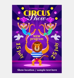 Circus show poster or flier with animals vector
