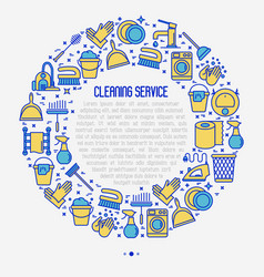 Cleaning service concept in circle vector